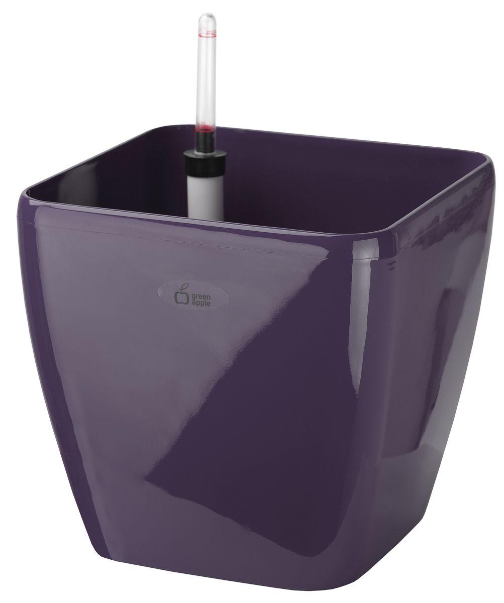 """Квадратный горшок """"Green Apple"""", выполненный из  полипропилена (пластика), имеет уникальную систему  автополива, благодаря которой корневая система растения  непрерывно снабжается влагой из резервуара. Уровень воды в  резервуаре контролируется с помощью специального  индикатора. В зависимости от размера кашпо и растения воды  хватает на 2-12 недель.  Длина индикатора уровня воды: 22,5 см."""