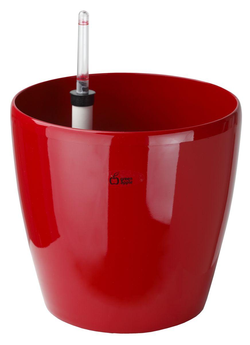 Горшок для цветов Green Apple, с системой автополива, цвет: красный, диаметр 22 смGPR10-05-RКруглый горшок Green Apple имеет уникальную систему автополива, благодаря которой корневая система растения непрерывно снабжается влагой из резервуара. Уровень воды в резервуаре контролируется с помощью специального индикатора. В зависимости от размера горшка и растения воды хватает на 2-12 недель.Диаметр горшка: 22 см.Высота горшка: 20,5 см.