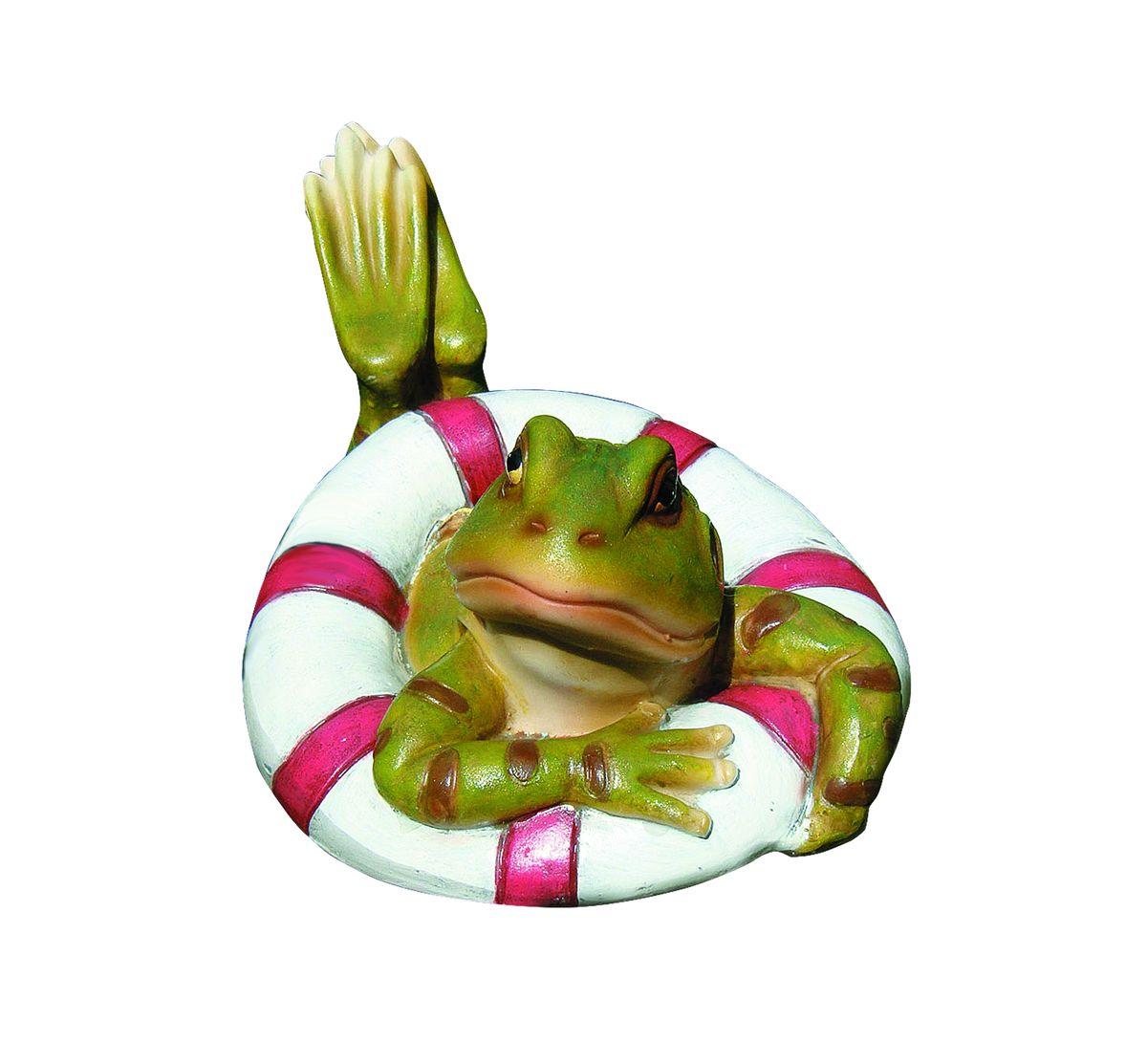 Фигурка декоративная Green Apple Лягушка, плавающаяGRWD1-17Плавающая декоративная фигурка Green Apple Лягушка выполнена из полистоуна в виде забавного лягушонка в спасательном круге. Фигурка устойчива к любым погодным условиям, отличается прочностью и долгим сроком службы. Такой фигуркой можно украсить небольшой пруд на садовом или коттеджном участке. Настоящий хозяин всегда хочет украсить свой садовый участок по достоинству и в соответствии с характером. Такая фигурка поможет вам проявить вашу индивидуальность.