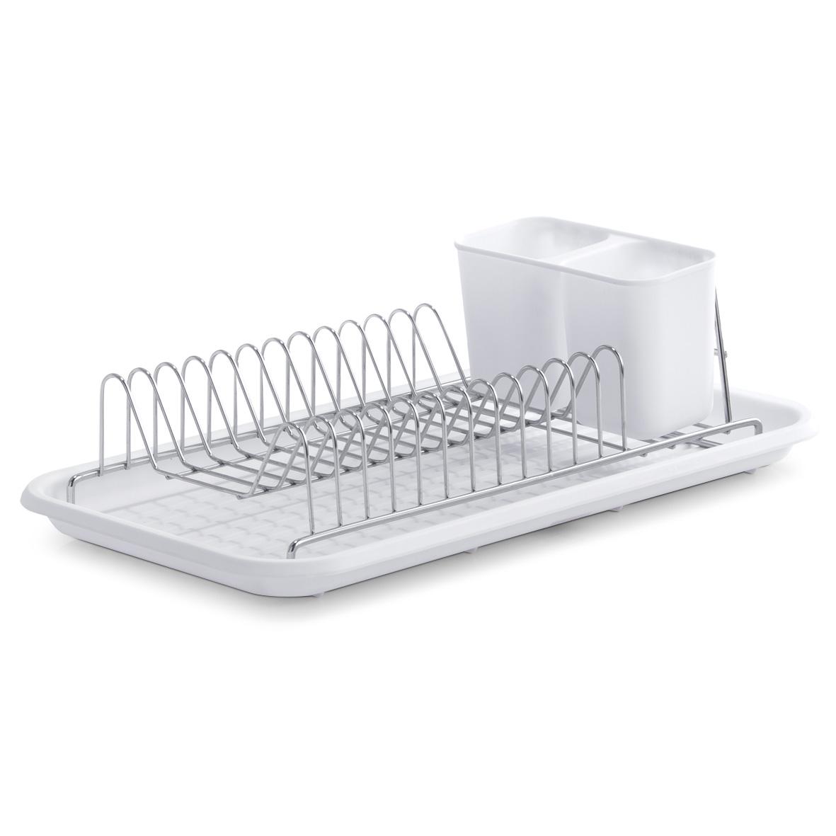 Сушилка для посуды Zeller, цвет: белый, 44 х 24 х 12 см24892Сушилка для посуды Zeller выполнена из нержавеющей стали с хромированным покрытием и оснащена пластиковым поддоном и подставкой для приборов. В сушилке предусмотрены отделения для тарелок и для столовых приборов. Отделение для столовых приборов, разделенное на две секции, при необходимости вынимается. Благодаряконструкции с вместительным поддоном для сбора воды, вы не будете тратить время на вытирание посуды после мытья. Стильный, современный и лаконичный дизайн сделает сушилку Zeller прекраснымдополнением интерьера вашей кухни.