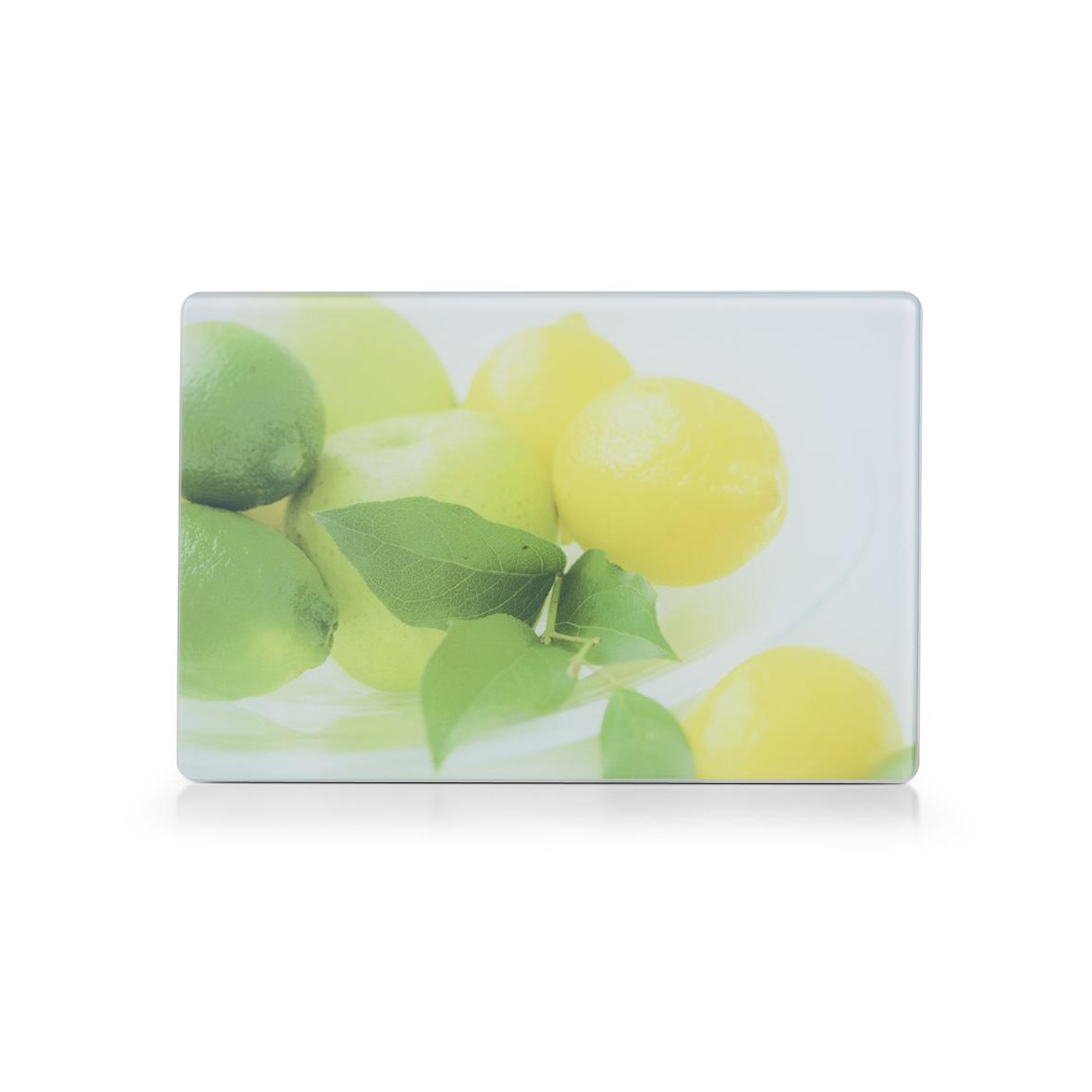 """Разделочная доска Zeller """"Лимоны"""" выполнена из жароустойчивого стекла. Изделие, украшенное красочным изображением спелых яблок, лимонов и лайма, идеально впишется в интерьер современной кухни. Изделие легко чистить от пятен и жира. Также доску можно применять как подставку под горячее. Доска оснащена резиновыми ножками, предотвращающими скольжение по поверхности стола.  Разделочная доска Zeller """"Лимоны"""" украсит ваш стол и сбережет его от воздействия высоких температур ваших кулинарных шедевров."""