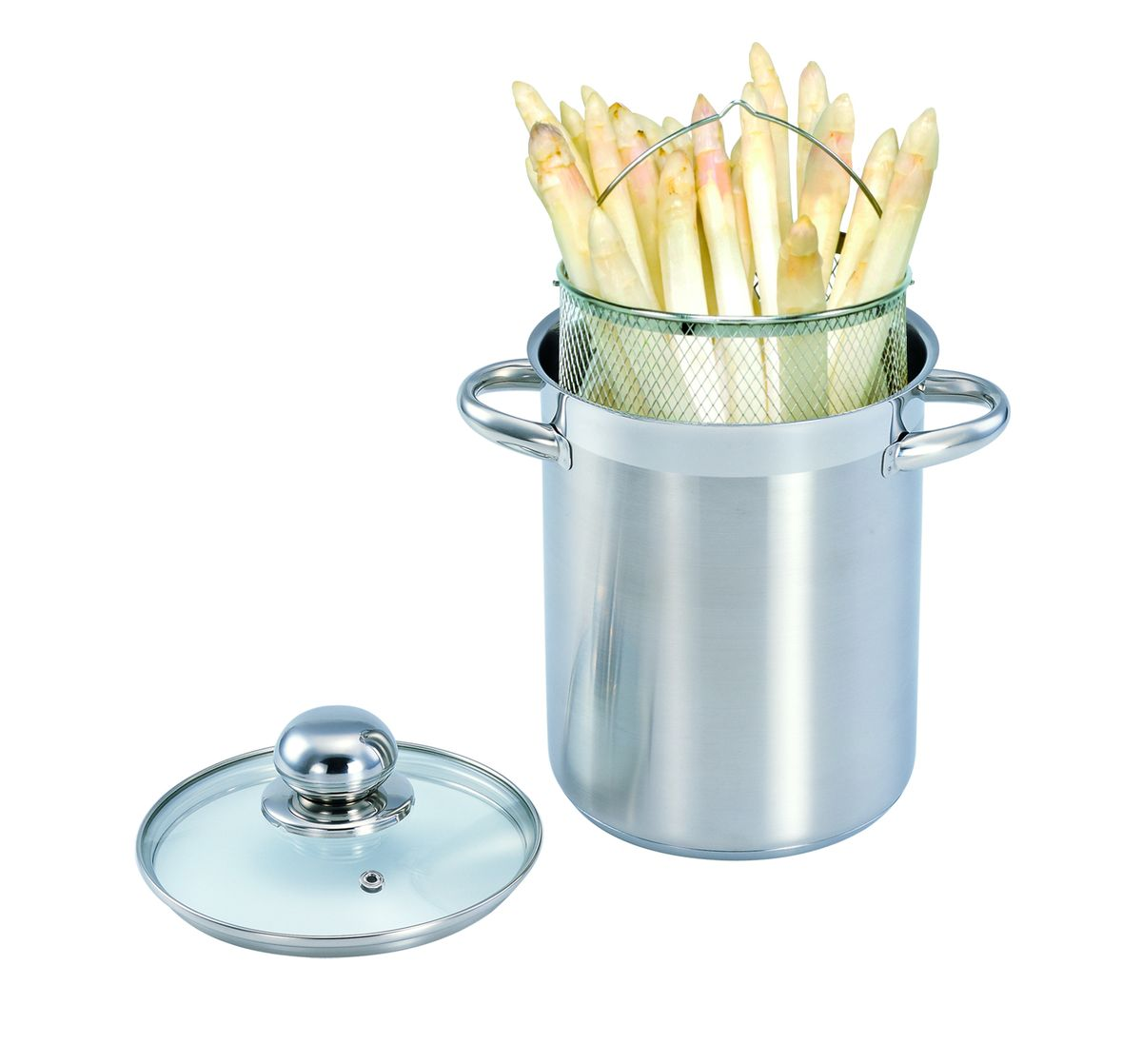 Кастрюля для спагетти SSW, с крышкой, 4,1 л440016Кастрюля для спагетти изготовлена из высококачественной нержавеющей стали 18/10 с полировкой поверхности до зеркального блеска. Кастрюля для спагетти представляет собой основную кастрюлю и вставку-сетку. Такая кастрюля идеально подходит для приготовления всех видов макаронных изделий, варки компотов. Сетка-вставка может заменить дуршлаг. Можно использовать как фритюрницу. Высококачественное трехслойное основание с цельноалюминиевой сердцевиной быстро поглощает тепло и равномерно распределяет. Сварные ручки из нержавеющей стали обеспечивают превосходную прочность и долговечность. Крышка с вентиляционным отверстием изготовлена из качественного жаростойкого стекла, что позволяет контролировать процесс приготовления пищи без потерь тепла, а также обеспечивает легкость и контроль приготовления пищи.Подходит для всех типов конфорок, включая индукционные. Пригодна для мытья в посудомоечной машине.