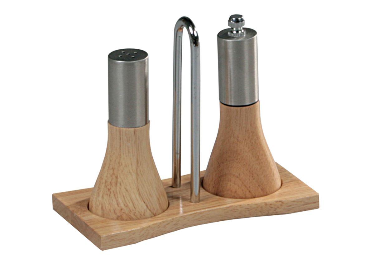 Набор для специй Kesper, 3 предмета1386-0Набор для специй Kesper состоит из механического измельчителя для перца, солонки и подставки. Изделия выполнены из высококачественного дерева и матовой нержавеющей стали. Такой набор стильно дополнит сервировку стола и станет незаменимым на вашей кухне. Качество исполнения и безопасные экологически чистые материалы делают такой набор очень практичным, функциональным и долговечным.Диаметр основания емкостей: 5 см.Высота емкостей: 12 см.Размер подставки: 15 см х 7,5 см х 13 см.