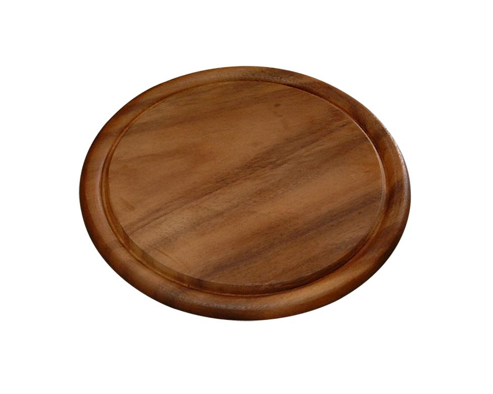 """Доска подстановочная """"Kesper"""" круглой формы выполнена из дерева темной акации. Подходит для частого применения, имеет небольшой размер, что экономит место на кухне.  Толщина: 1,5 см;  Высота бортика: 0,5 см;  Диаметр: 25 см;  Внутренний диаметр: 22 см."""