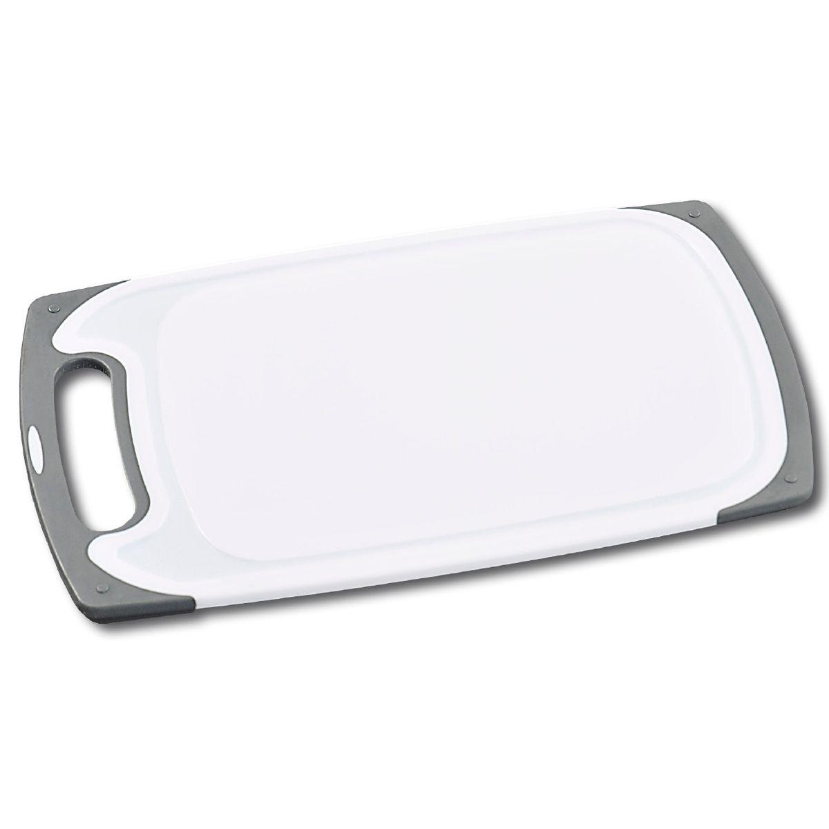 Доска разделочная, пластик 40,5х24.5 см3075-1Доска разделочная, изготовленная из пищевого пластика, займет достойное место среди аксессуаров на вашей кухне. Она прекрасно подойдет для нарезки любых продуктов. Доска устойчива к деформации и высоким температурам. белый/серый