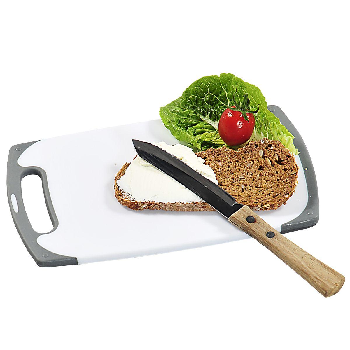 Доска разделочная, пластик 25х15 см3075-4Доска разделочная, изготовленная из пищевого пластика, займет достойное место среди аксессуаров на вашей кухне. Она прекрасно подойдет для нарезки любых продуктов. Доска устойчива к деформации и высоким температурам. белый/серый