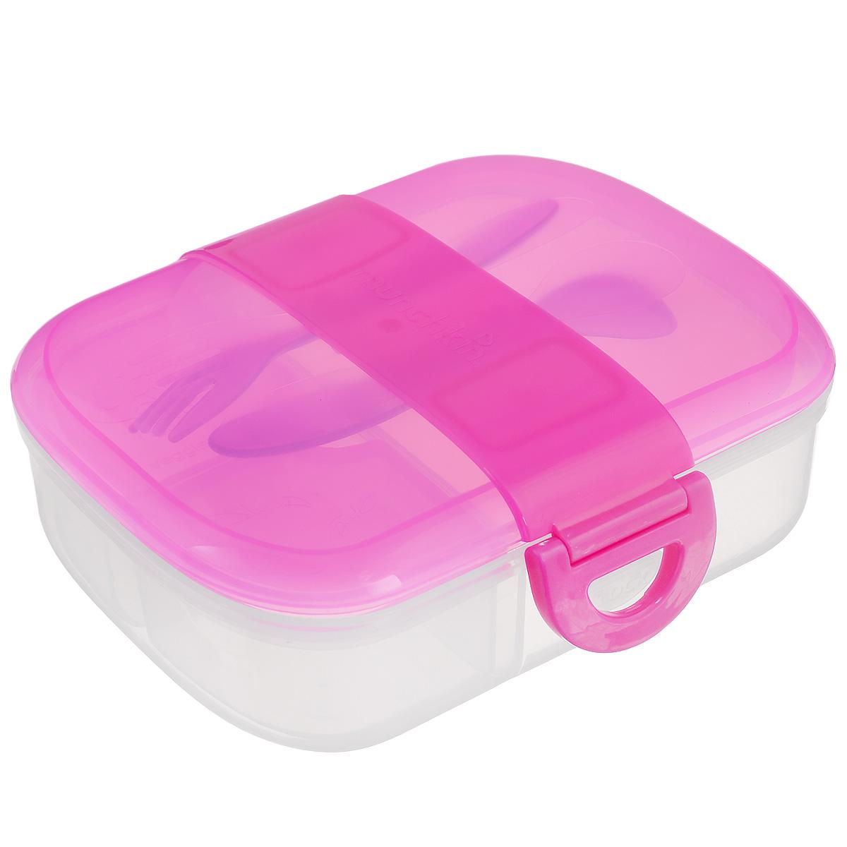 Контейнер для еды  Munchkin , с приборами, цвет: розовый -  Все для детского кормления