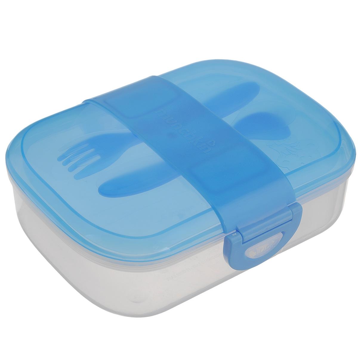 Контейнер для еды  Munchkin , с приборами, цвет: голубой -  Все для детского кормления