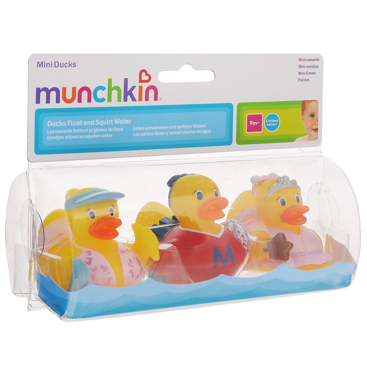 Набор игрушек для ванны Munchkin Уточки, 3 шт набор нагрудников с кармашком для крошек 2 шт динозавр космос 24 munchkin
