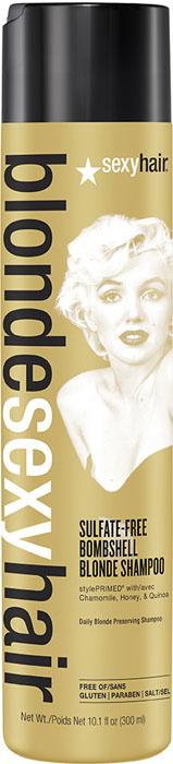 Sexy Hair Шампунь для сохранения цвета без сульфатов Sulfate-free Bombshell Blonde Shampoo, 300 мл90349010Роскошный Шампунь для ежедневного ухода для осветленных, мелированных и седых волос. Специально разработанная технология Perfect-Balance Technology с экстрактом ромашки, меда и киноа поддерживает яркость и блеск цвета, укрепляет и увлажняет волосы, защищает от повреждений и выгорания. Стимулирует рост волос. Без сульфатов, глютена, парабенов, солей