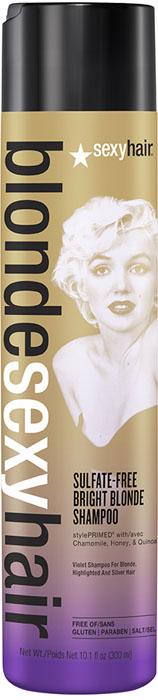 Sexy Hair Шампунь корректирующий Сияющий Блонд без сульфатов, Sulfate-free bright blonde shampoo, 300 мл39BRISHA10Этот роскошный корректирующий шампунь идеален для осветленных, мелированных и седых волос. Фиолетовый пигмент шампуня убирает нежелательные желтые и медные оттенки, предотвращает появление теплых оттенков. Специально разработанная технология Perfect-Balance Technology с экстрактом ромашки, меда и киноа увлажняет и укрепляет волосы, придает сияние. Без сульфатов, глютена, парабенов, солей.