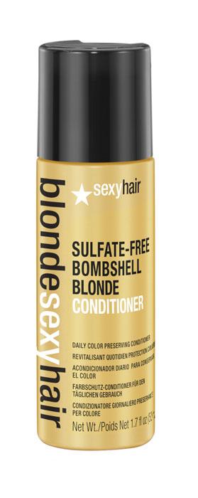 Sexy Hair Кондиционер для сохранения цвета без сульфатов, BLSH Bombshell Blonde Conditioner, 50 мл39CON01Роскошный Кондиционер для ежедневного ухода для осветленных, мелированных и седых волос. Укрепляет волосы, защищает от повреждений и появления секущихся кончиков. Специально разработанная технология Perfect-Balance Technology с экстрактом ромашки, меда и киноа смягчает, увлажняет волосы, предохраняет от выгорания, делает волосы мягкими и сияющими. Без сульфатов, глютена, парабенов, солей.