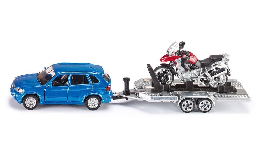 Siku Игровой набор BMW X5 с прицепом и мотоциклом BMW R 1200 GS машинки siku мусоровоз 1 50