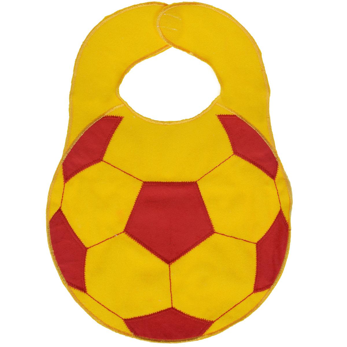 Нагрудник Sevi Baby Футбольный мяч, цвет: желтый, красный, 23 см х 32 см