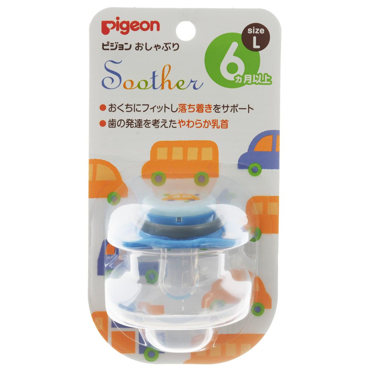 PIGEON Пустышка Машинка 6+ мес (размер L) пустышка пома адаптированной формы из силикона с 4 мес