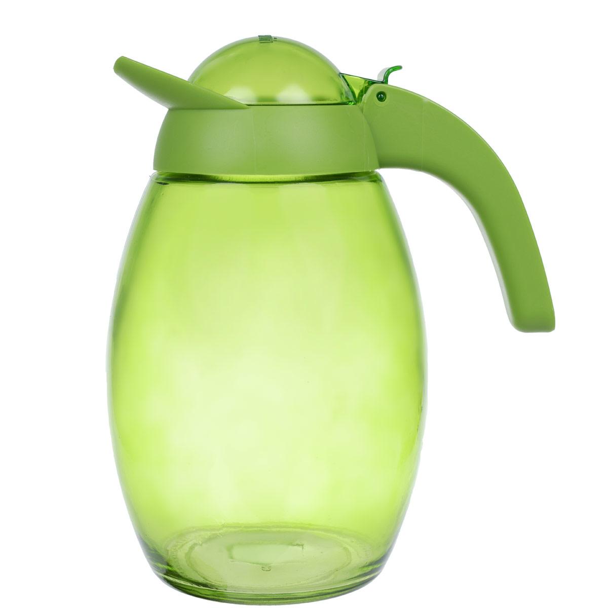Кувшин Herevin с крышкой, цвет: зеленый, 1,6 л. 111311111311-000Кувшин Herevin, выполненный из высококачественного прочного стекла, элегантно украсит ваш стол. Кувшин оснащен удобной ручкой и завинчивающейся пластиковой крышкой. Благодаря этому внутри сохраняется герметичность, и напитки дольше остаются свежими. Кувшин прост в использовании, достаточно просто наклонить его и налить ваш любимый напиток. Цветная крышка оснащена откидным механизмом для более удобного заливания жидкостей. Изделие прекрасно подойдет для подачи воды, сока, компота и других напитков. Кувшин Herevin дополнит интерьер вашей кухни и станет замечательным подарком к любому празднику.Диаметр (по верхнему краю): 6 см.Высота кувшина (без учета крышки): 18,5 см.
