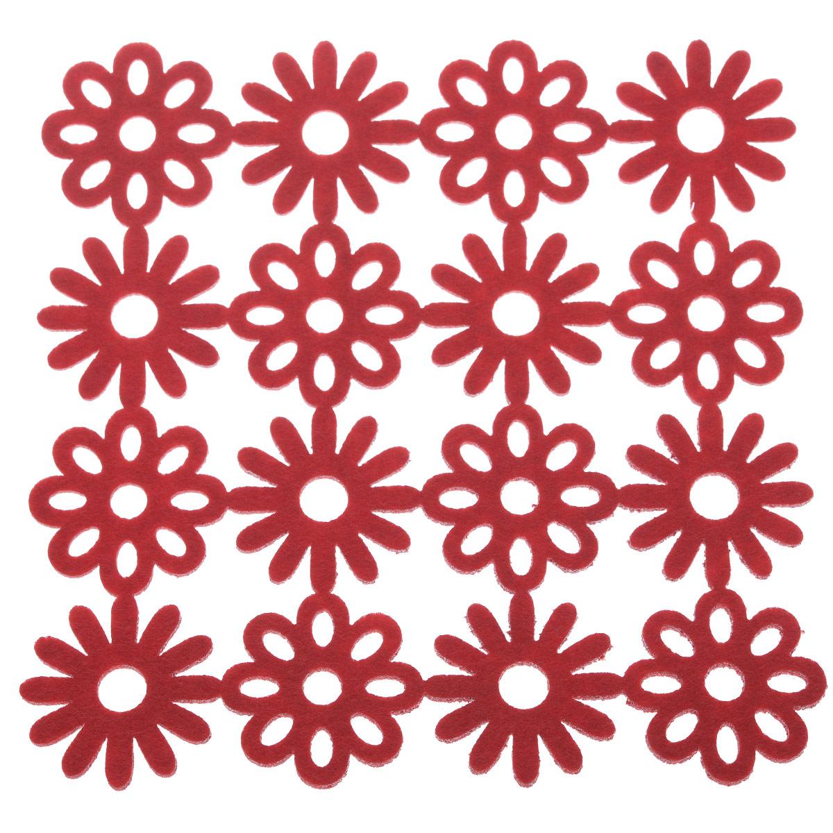Салфетка-подставка Orange, квадратная, цвет: красный, 20 х 20 см