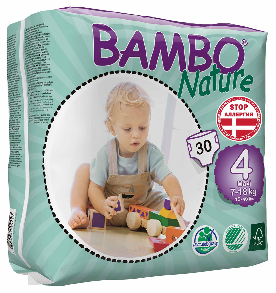 Bambo Nature Экологические детские одноразовые подгузники, Maxi, 7-18 кг, 30 шт