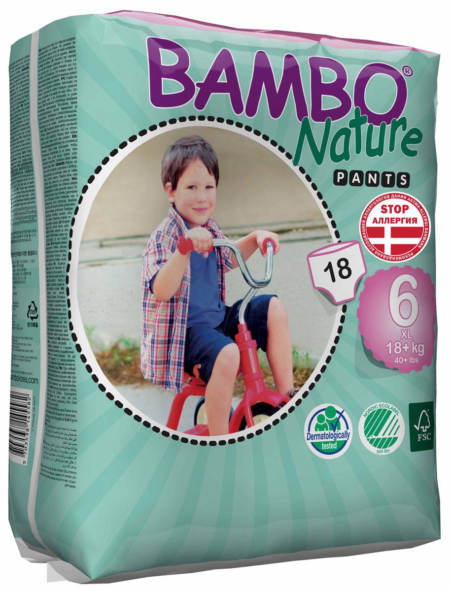 Bambo Nature Экологические детские одноразовые трусики-подгузники, XL, от 18 кг, 18 шт