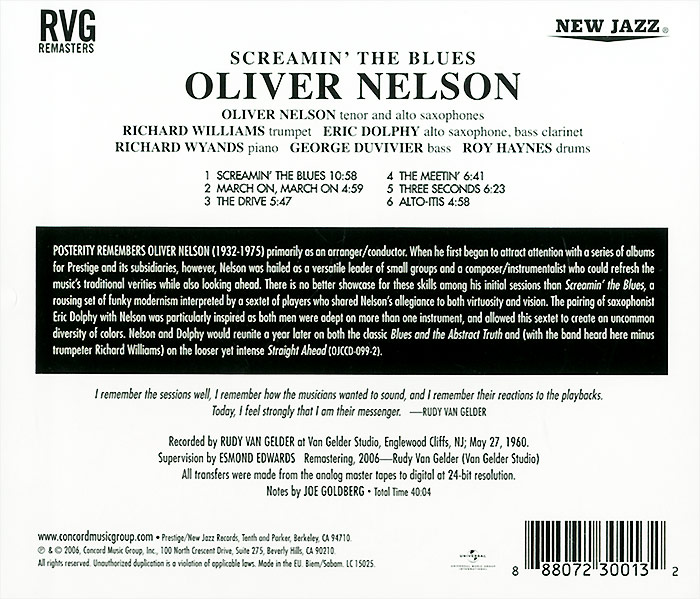 Oliver Nelson.  Screamin' The Blues ООО