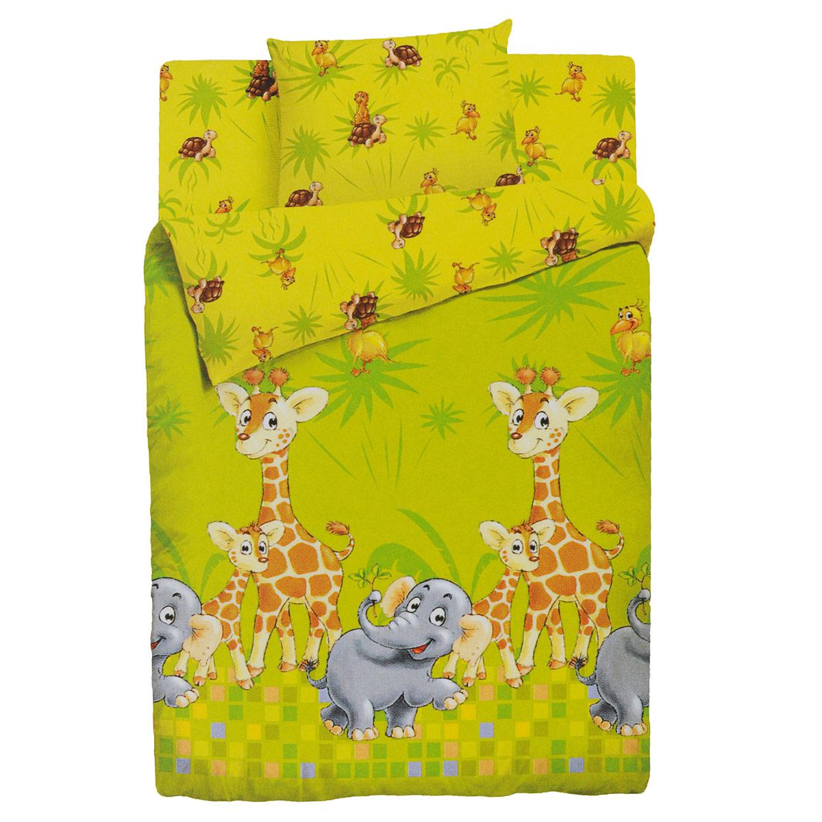 Комплект детского постельного белья Облачко Джунгли, цвет: желтый, 3 предмета. 4600001784709 детский комплект постельного белья облачко влюбленный медвежонок
