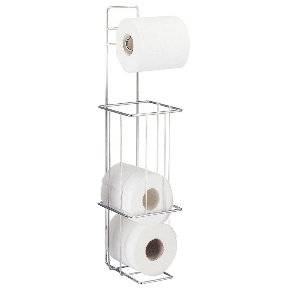 Напольный держатель туалетной бумаги Tatkraft Lager, для 4 рулонов13308Держатель туалетной бумаги Tatkraft Lager изготовлен из нержавеющей стали с хромированным покрытием. Держатель предназначен для 4 рулонов туалетной бумаги. Благодаря компактным размерам, держатель не займет много места.Его можно поставить на пол, а при необходимости прикрепить к стене.Размер держателя: 14,5 см х 14,5 см.Высота: 56,5 см.