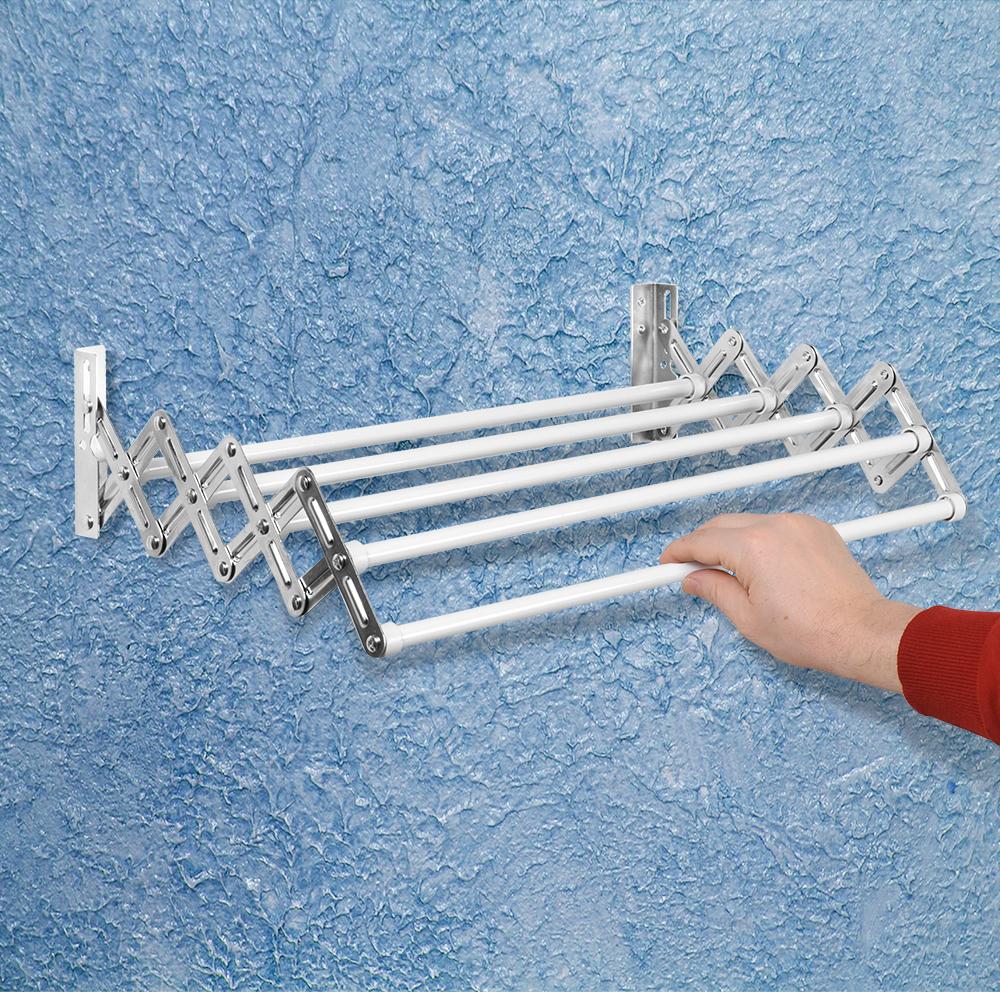 """Раздвижная настенная сушилка для белья Artmoon """"Alberta"""" изготовлена из качественной окрашенной стали, отличается прочностью и стойкостью к коррозии. Сушилка выдерживает вес до 5 кг, снабжена 5 штангами. Выдвигается от стены на 38,5 см, чтобы открыть, необходимо просто потянуть вперед. В закрытом виде может использоваться как штанга для полотенец. Крепится к стене, винты и дюбели в комплекте."""