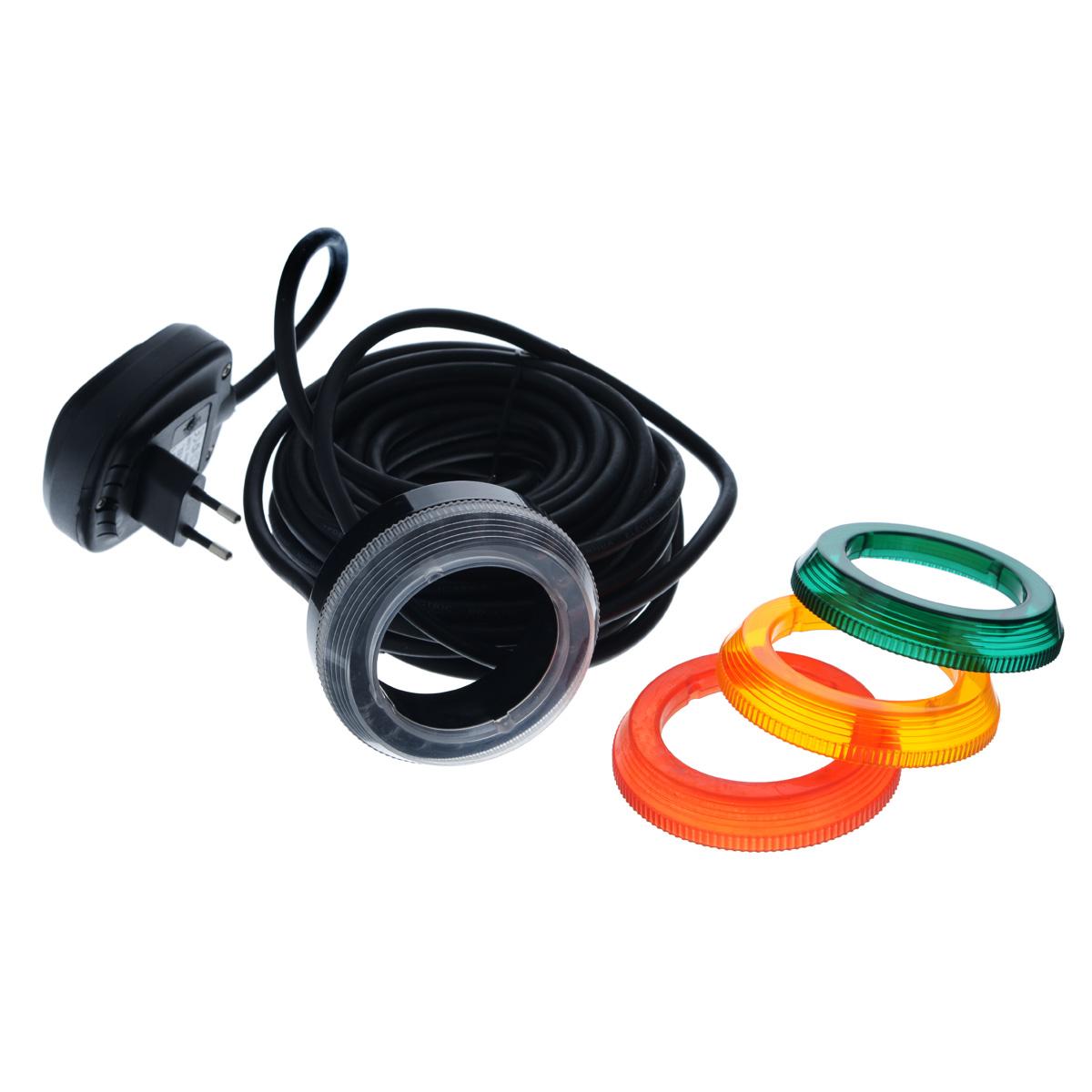 """Насадка на разбрызгиватель Aquael """"Light Play Ring"""" предназначена для создания водных световых эффектов или для освещения декоративных элементов под водой (в фонтанах, каскадах, искусственных водоемах, садовых водоемах, бассейнах, в саду возле дома), а так же на открытой поверхности, т.е. вне помещений. Конструкция светильников основана на использовании современной техники источников света LED. Их достоинством является очень маленький расход электроэнергии, небольшое количество выделяемого тепла, кроме того отсутствует необходимость замены светодиодов. Кабель питания имеет длину 10 метров и представляет возможность размещения устройства в любом месте. Кабель светильника можно отключить от трансформатора, а это значит, что очень удобно устанавливать и подключать эти источники света. Светильник приспособлен для непрерывной работы. В комплекте 4 сменные насадки белого, красного, оранжевого и зеленого цветов. Размер насадки: 8,5 см х 8,5 см х 3 см.Длина провода: 10 м."""