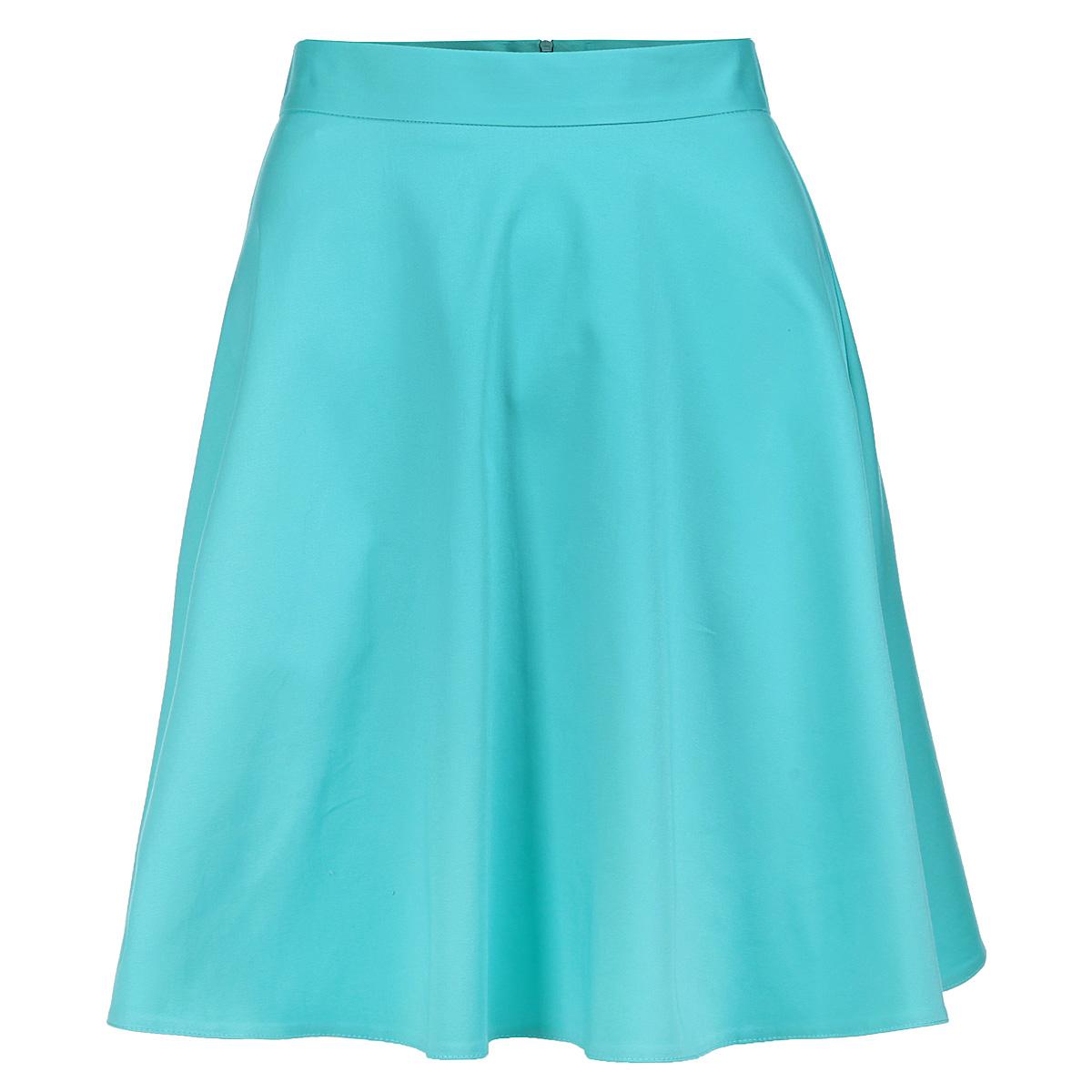 Юбка Yarmina, цвет: мятный. 6717803 min. Размер 466717803 minЭлегантная юбка Yarmina изготовлена из мягкого хлопка с добавлением эластана. Модель средней длины на пришивном поясе застегивается на потайную застежку-молнию сзади. Классическая расклешенная юбка - актуальная и модная вещь женского гардероба. Она будет прекрасно смотреться с любыми топами и блузками.Эта стильная и в то же время комфортная юбка - отличный вариант на каждый день.