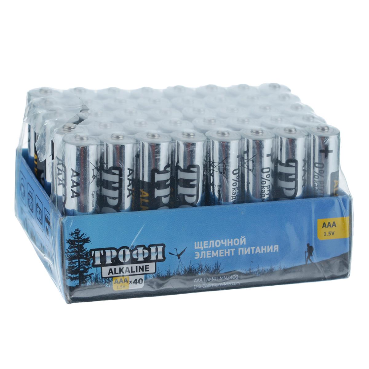 Батарейка алкалиновая Трофи, тип AAA (LR03), 1,5В, 40 штLR03-40BLЩелочные (алкалиновые) батарейки Трофи оптимально подходят дляповседневного питания множества современных бытовых приборов: электронныхигрушек, фонарей, беспроводной компьютерной периферии и многого другого. Не содержат кадмия и ртути. Батарейки созданы для устройств со средним и высоким потреблением энергии. Работают в 10 раз дольше, чем обычные солевые элементы питания.Размер батарейки: 1 см х 4,1 см. Комплектация: 40 шт.УВАЖАЕМЫЕ КЛИЕНТЫ!Обращаем ваше внимание на возможные изменения в дизайне товара, связанные с ассортиментом продукции. Поставка осуществляется в зависимости от наличия на складе.
