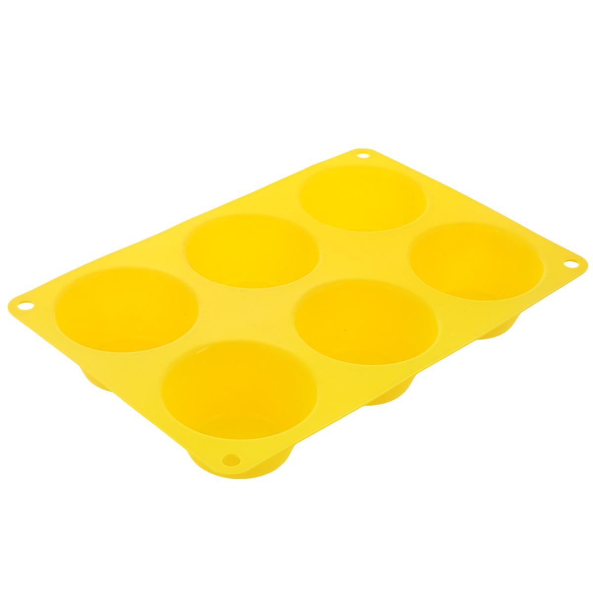 Форма для выпечки маффинов Taller, цвет: желтый, 6 ячеекTR-6200Форма Taller будет отличным выбором для всех любителей выпечки. Благодаря тому, что форма изготовлена из силикона, готовую выпечку или мармелад вынимать легко и просто. Изделие выполнено в форме прямоугольника, внутри которого расположены 6 круглых ячеек. Форма прекрасно подойдет для выпечки маффинов.С такой формой вы всегда сможете порадовать своих близких оригинальной выпечкой. Материал изделия устойчив к фруктовым кислотам, может быть использован в духовках, микроволновых печах, холодильниках и морозильных камерах (выдерживает температуру от -20°C до 220°C). Антипригарные свойства материала позволяют готовить без использования масла.Можно мыть и сушить в посудомоечной машине. При работе с формой используйте кухонный инструмент из силикона - кисти, лопатки, скребки. Не ставьте форму на электрическую конфорку. Не разрезайте выпечку прямо в форме.Количество ячеек: 6 шт.Общий размер формы: 24 см х 16,5 см х 3,5 см.Диаметр ячейки: 7 см.Глубина ячейки: 3,5 см.