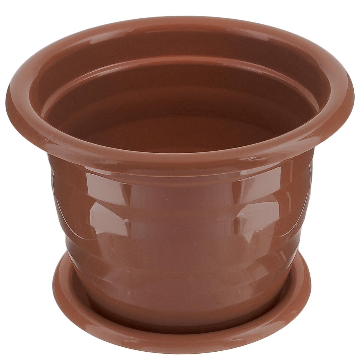 Горшок для цветов Альтернатива Виола, с поддоном, цвет: коричневый, 2 л, диаметр 18 смМ1531Любой, даже самый современный и продуманный интерьер будет не завершённым без растений. Они не только очищают воздух и насыщают его кислородом, но и заметно украшают окружающее пространство. Такому полезному &laquo члену семьи&raquoпросто необходимо красивое и функциональное кашпо, оригинальный горшок или необычная ваза! Мы предлагаем - Горшок для цветов 2 л Виола, поддон, цвет коричневый!Оптимальный выбор материала &mdash &nbsp пластмасса! Почему мы так считаем? Малый вес. С лёгкостью переносите горшки и кашпо с места на место, ставьте их на столики или полки, подвешивайте под потолок, не беспокоясь о нагрузке. Простота ухода. Пластиковые изделия не нуждаются в специальных условиях хранения. Их&nbsp легко чистить &mdashдостаточно просто сполоснуть тёплой водой. Никаких царапин. Пластиковые кашпо не царапают и не загрязняют поверхности, на которых стоят. Пластик дольше хранит влагу, а значит &mdashрастение реже нуждается в поливе. Пластмасса не пропускает воздух &mdashкорневой системе растения не грозят резкие перепады температур. Огромный выбор форм, декора и расцветок &mdashвы без труда подберёте что-то, что идеально впишется в уже существующий интерьер.Соблюдая нехитрые правила ухода, вы можете заметно продлить срок службы горшков, вазонов и кашпо из пластика: всегда учитывайте размер кроны и корневой системы растения (при разрастании большое растение способно повредить маленький горшок)берегите изделие от воздействия прямых солнечных лучей, чтобы кашпо и горшки не выцветалидержите кашпо и горшки из пластика подальше от нагревающихся поверхностей.Создавайте прекрасные цветочные композиции, выращивайте рассаду или необычные растения, а низкие цены позволят вам не ограничивать себя в выборе.
