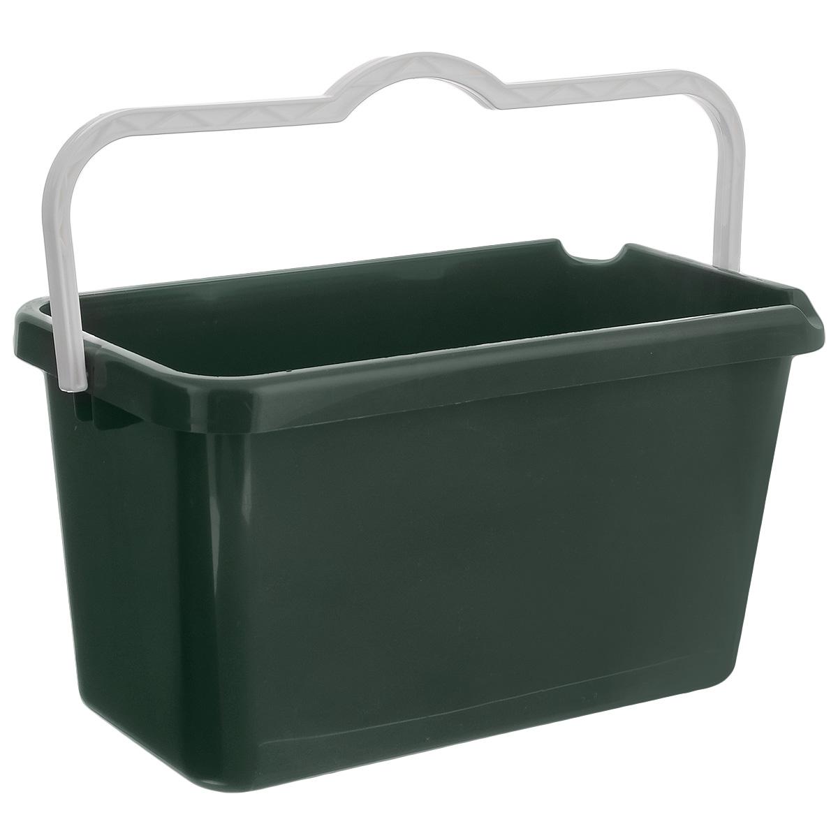 Ведро Альтернатива Эконом, прямоугольное, цвет: темно-зеленый, белый, 14 л ведро с крышкой хозяюшка пластик 10л альтернатива м1213