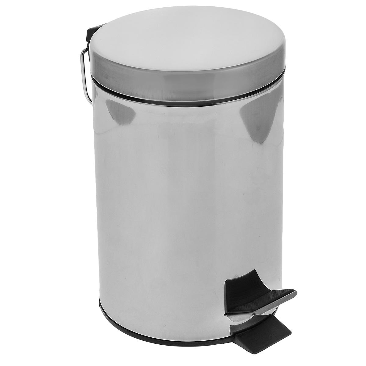 Ведро для мусора Art Moon Moon, с педалью, цвет: серебристый, 3 л691014Круглое ведро для мусора Art Moon Moon, выполненное из нержавеющей стали с отражающей поверхностью, поможет вам держать мусор в порядке и предотвратит распространение неприятного запаха. Ведро оснащено педалью, с помощью которой можно открыть крышку. Закрывается крышка бесшумно, плотно прилегает, предотвращая распространение запаха. Сбоку также имеется металлическая ручка. Внутренняя часть - пластиковое ведерко, оснащенное металлической ручкой для переноса. Нескользящая пластиковая основа ведра предотвращает повреждение пола.Объем: 3 л. Диаметр ведра: 16,5 см.Высота стенки: 26 см.