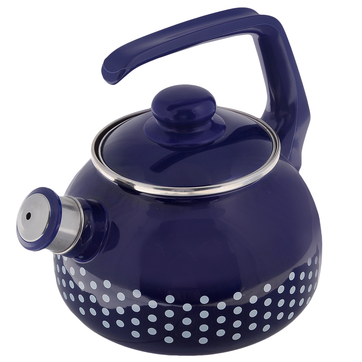 Чайник Metrot Горошек, со свистком, цвет: синий, 2,5 л108669Чайник Metrot Горошек выполнен из высококачественной стали, что обеспечивает долговечность использования. Внешнее цветное эмалевое покрытие придает приятный внешний вид. Бакелитовая фиксированная ручка делает использование чайника очень удобным и безопасным. Чайник снабжен съемным свистком.Можно мыть в посудомоечной машине. Пригоден для всех видов плит, включая индукционные.Высота чайника (без учета крышки и ручки): 13 см. Диаметр (по верхнему краю): 13 см.