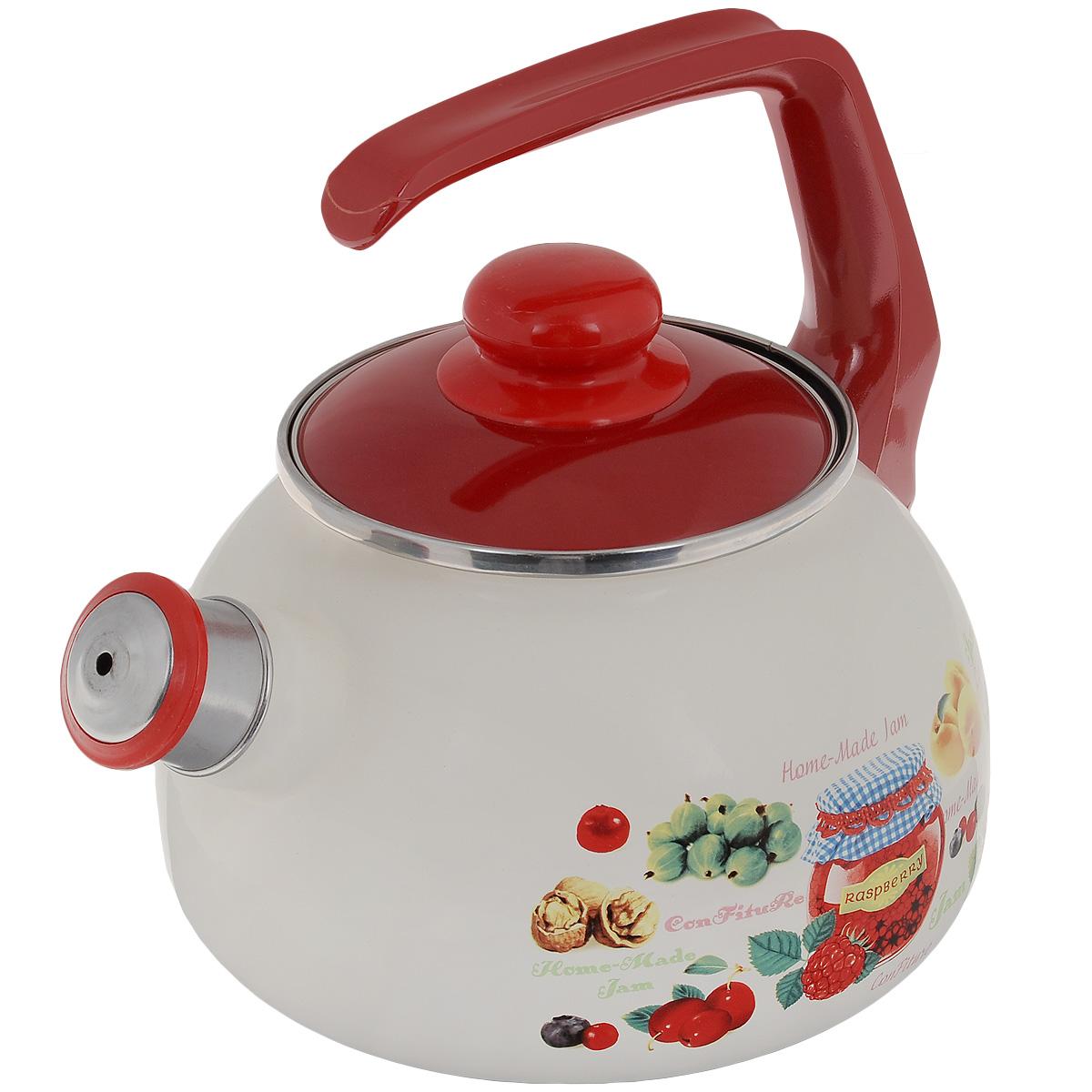 """Чайник Metrot """"Варенье"""" выполнен из высококачественной стали, что обеспечивает долговечность использования. Внешнее цветное эмалевое покрытие придает приятный внешний вид. Бакелитовая фиксированная ручка делает использование чайника очень удобным и безопасным. Чайник снабжен съемным свистком.  Можно мыть в посудомоечной машине. Пригоден для всех видов плит, включая индукционные.  Высота чайника (без учета крышки и ручки): 13 см. Диаметр (по верхнему краю): 13 см."""