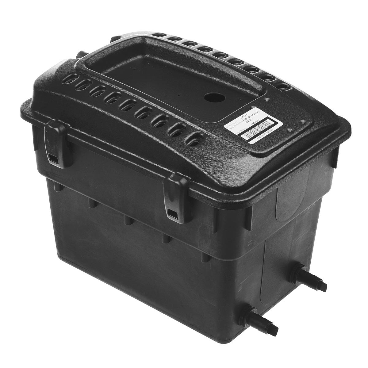 """Фильтр для декоративного пруда """"Aquael"""" является наружным фильтром. Его можно размещать на берегу пруда или на водопаде. Работает совместно с насосом Aquajet PFN. Такой фильтр обеспечивает механическую и биологическую очистку водоема. Рассчитан на непрерывную работу и приспособлен к работе как в полностью погруженном состоянии, так и в наружном положении.  Максимальный объем: 5 м3.  Размер фильтра: 50 см х 38 см х 40 см."""