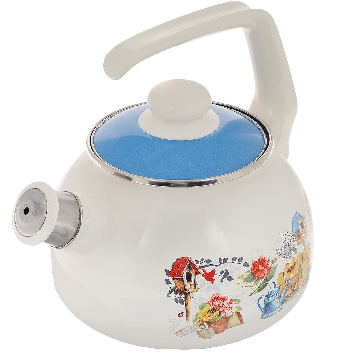"""Чайник Metrot """"Дача"""" выполнен из высококачественной стали, что обеспечивает долговечность использования. Внешнее цветное эмалевое покрытие придает приятный внешний вид. Бакелитовая фиксированная ручка делает использование чайника очень удобным и безопасным. Чайник снабжен съемным свистком.  Можно мыть в посудомоечной машине. Пригоден для всех видов плит, включая индукционные.  Высота чайника (без учета крышки и ручки): 13 см. Диаметр (по верхнему краю): 13 см."""