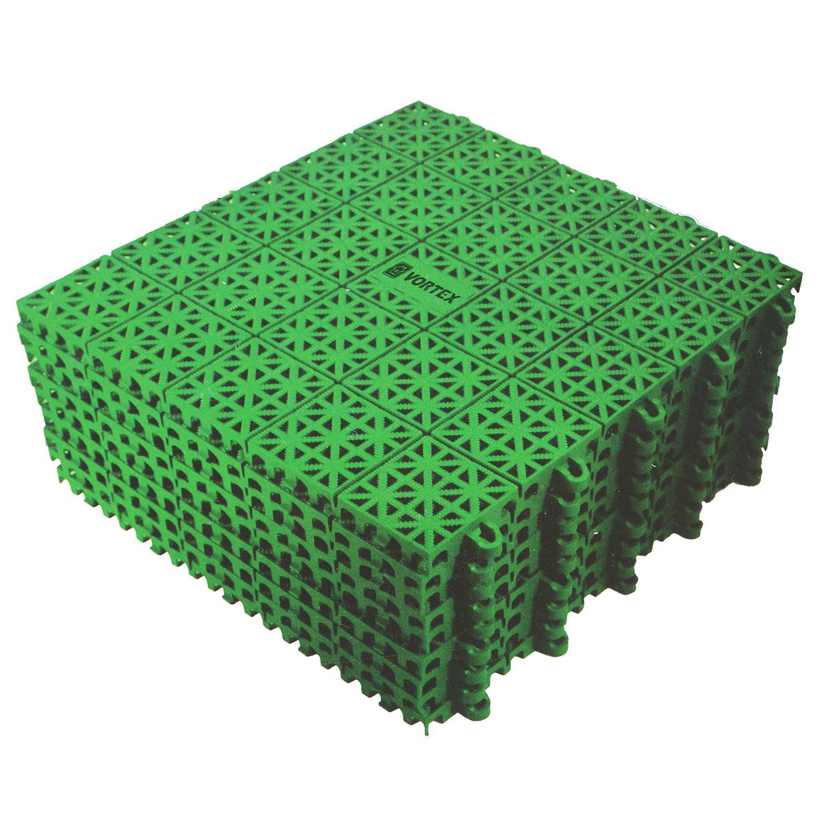 Покрытие Vortex, пластиковое, универсальное, цвет: зеленый, 9 шт5365Универсальное покрытие, выполненное из полипропилена зеленого цвета, устанавливается и удаляется без применения инструментов. Оно укладывается на любую ровную поверхность, допускается ее изношенность и наличие мелких дефектов. Покрытие можно использовать внутри и вне помещений: балкон, мастерская, помещения с повышенной влажностью, ванная комната и душевая, бассейн, каток, кладовая, кемпинг, игровые площадки, складские помещения, торговые площадки, выставки.В помещении уход за покрытием производится с применением пылесоса. Покрытие, установленное вне помещения можно легко промыть водой при помощи шланга.Размер плитки: 33 см х 33 см х 1 см.Размер полученного покрытия: 1 м2