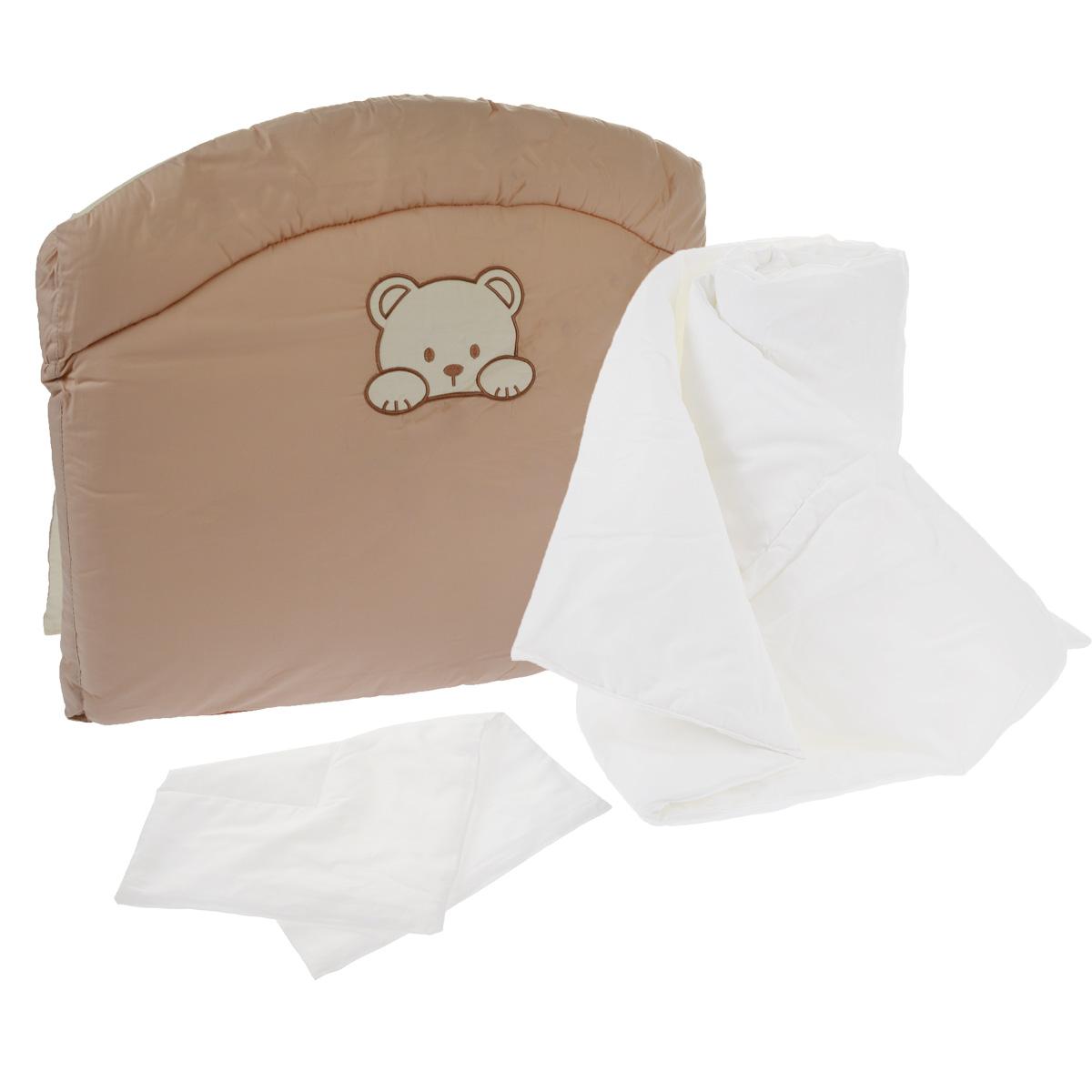Комплект в кроватку Fairy, цвет: бежевый, белый, 3 предмета. 5590-025590-02Комплект в кроватку Fairy прекрасно подойдет для кроватки вашегомалыша, добавит комнате уюта и согреет в прохладные дни. В качествематериала верха использован натуральный хлопок и лен. Мягкая ткань нераздражает чувствительную и нежную кожу ребенка и хорошо вентилируется. Бортик наполнен синтепоном, а подушка и одеяло - холлофайбером. Изделияс холлофайбером хорошо защищены от проникновения пылевых клещей иотличаются особой упругостью и одновременно мягкостью, чтобы подаритьвашему ребенку комфорт и хороший сон.Очень важно, чтобы ваш малыш хорошо спал - это залог его здоровья, а значитвашего спокойствия. Комплект Fairy идеально подойдет для кроваткивашего малыша. На нем ваш кроха будет спать здоровым и крепким сном. Комплектация: - борт (185 см х 54 см);- плоская подушка (40 см х 60 см); - одеяло (110 см х 140 см).