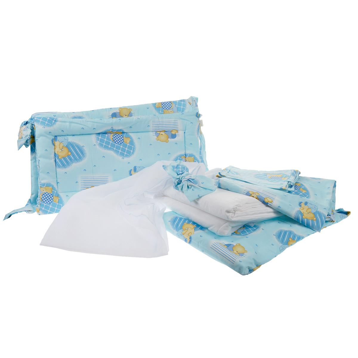 Комплект в кроватку Фея Мишки, цвет: голубой, 7 предметов5558-1Комплект в кроватку Фея Мишки прекрасно подойдет для кроватки вашего малыша, добавит комнате уюта и согреет в прохладные дни. В качестве материала верха использован натуральный 100% хлопок. Мягкая ткань не раздражает чувствительную и нежную кожу ребенка и хорошо вентилируется.Бортик, подушка и одеяло наполнены холлотеком, нетканым материалом, который производится из полых сильно извитых волокон. За счет этого материал приобретает объем, упругость, и особенную мягкость. Балдахин выполнен из легкой прозрачной вуали. Очень важно, чтобы ваш малыш хорошо спал - это залог его здоровья, а значит вашего спокойствия. Комплект Фея Мишки идеально подойдет для кроватки вашего малыша. На нем ваш кроха будет спать здоровым и крепким сном.Комплектация:- бортик (2 х 35 см х 60 см, 2 х 35 см х 120 см); - балдахин (150 см х 300 см);- плоская подушка (40 см х 60 см);- одеяло (110 см х 140 см);- пододеяльник (110 см х 140 см);- наволочка (40 см х 60 см);- простыня (100 см х 160 см).