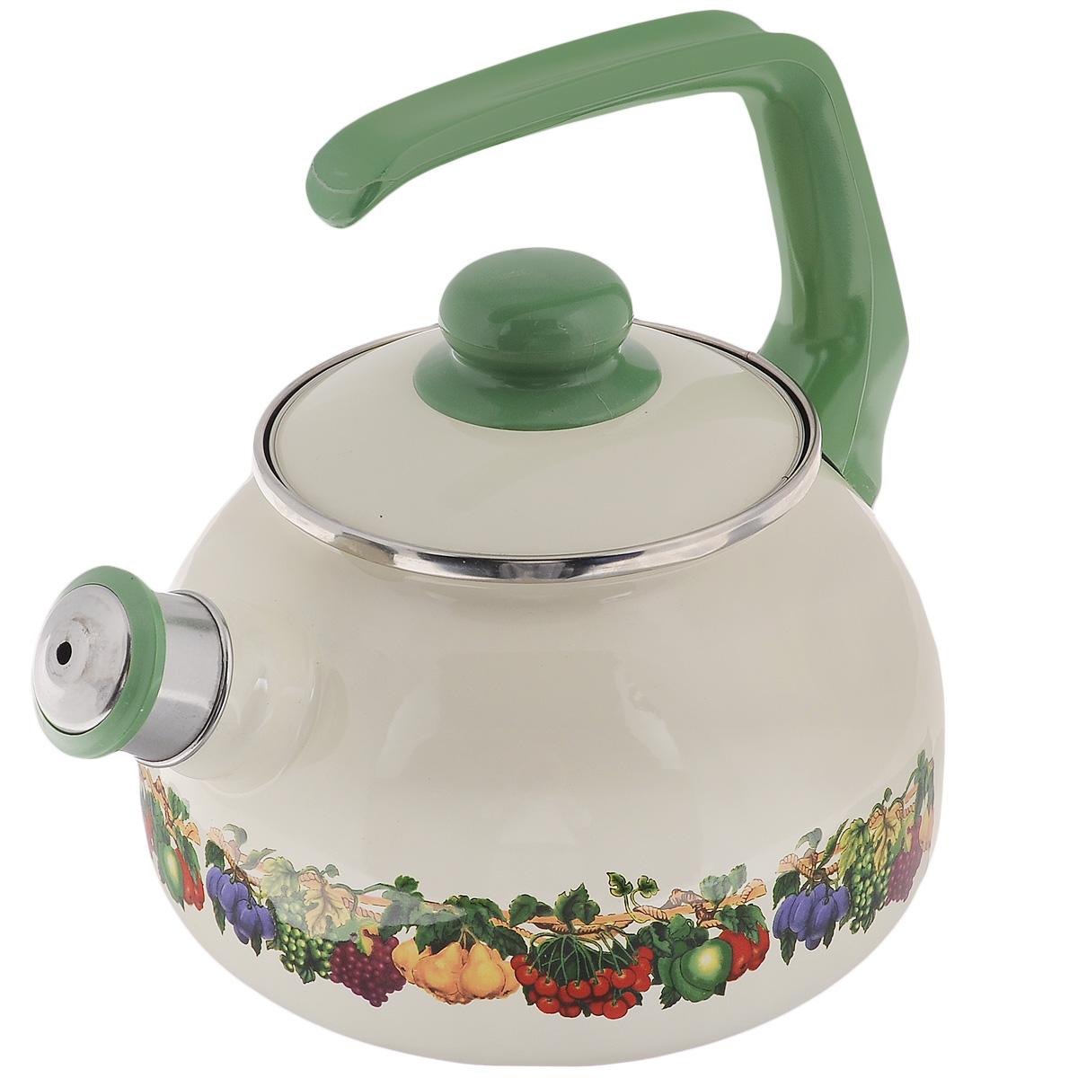 Чайник Metrot Фруктовый сад, со свистком, 2,5 л107112Чайник Metrot Фруктовый сад выполнен из высококачественной стали, что обеспечивает долговечность использования. Внешнее цветное эмалевое покрытие придает приятный внешний вид. Бакелитовая фиксированная ручка делает использование чайника очень удобным и безопасным. Чайник снабжен съемным свистком.Можно мыть в посудомоечной машине. Пригоден для всех видов плит, включая индукционные.Высота чайника (без учета крышки и ручки): 13 см.Диаметр (по верхнему краю): 13 см.