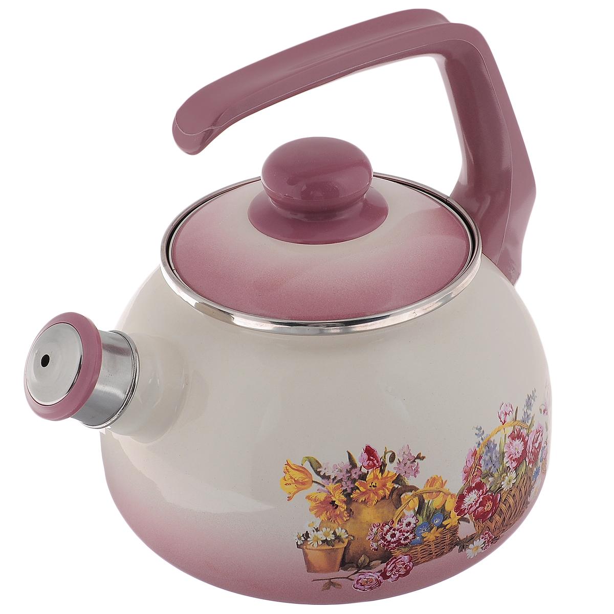 """Чайник Metrot """"Краски лета"""" выполнен из высококачественной стали, что обеспечивает долговечность использования. Внешнее цветное эмалевое покрытие придает приятный внешний вид. Бакелитовая фиксированная ручка делает использование чайника очень удобным и безопасным. Чайник снабжен съемным свистком.  Можно мыть в посудомоечной машине. Пригоден для всех видов плит, включая индукционные.  Высота чайника (без учета крышки и ручки): 13 см. Диаметр (по верхнему краю): 13 см."""