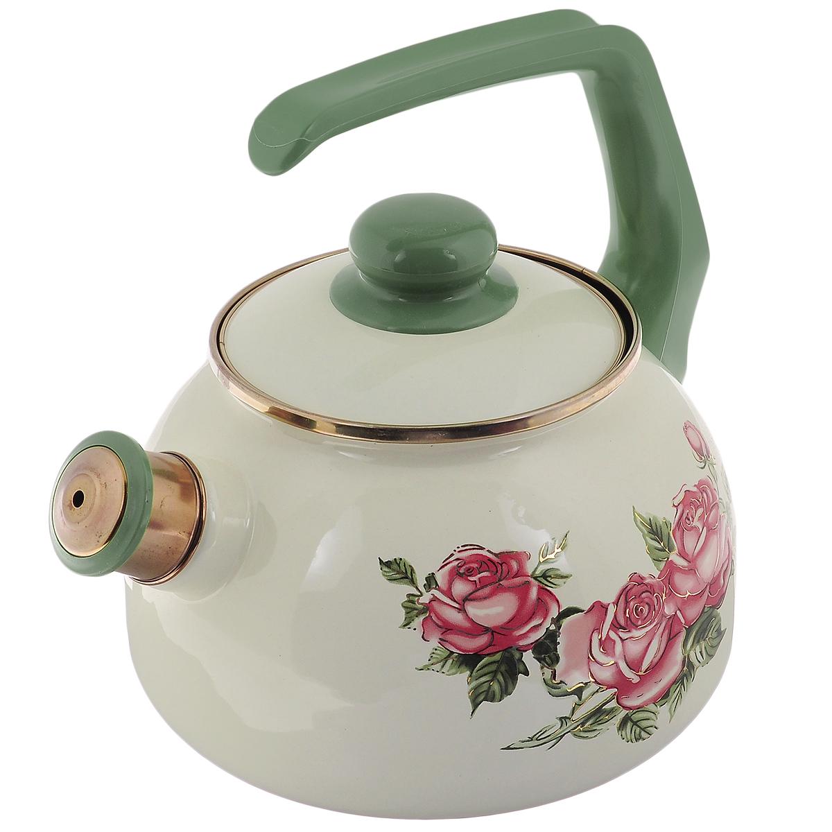 """Чайник Metrot """"Роза"""" выполнен из высококачественной стали, что обеспечивает долговечность использования. Внешнее цветное эмалевое покрытие придает приятный внешний вид. Бакелитовая фиксированная ручка делает использование чайника очень удобным и безопасным. Чайник снабжен съемным свистком.  Можно мыть в посудомоечной машине. Пригоден для всех видов плит, включая индукционные.  Высота чайника (без учета крышки и ручки): 13 см. Диаметр (по верхнему краю): 13 см."""