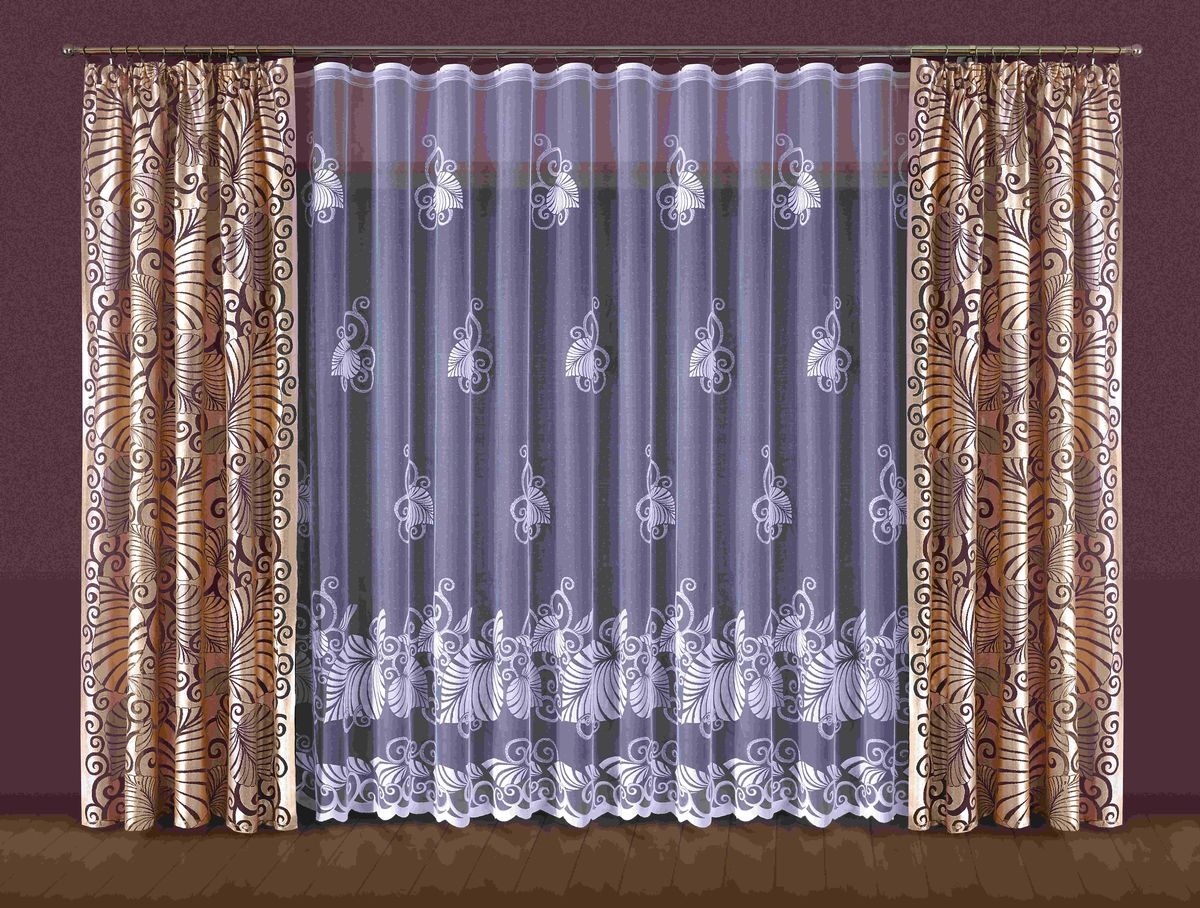 Комплект штор WISAN, на ленте, 400*250+145*250*2. 202W комплект штор wisan lara на ленте цвет оранжевый белый высота 250 см