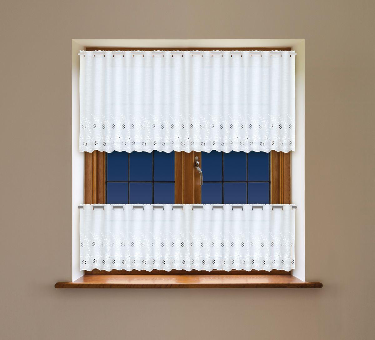 Комплект гардин Haft, на ленте, цвет: белый, 2 шт. 203390203390Комплект штор для кухни Haft великолепно украсит любое окно. Комплект состоит из двух гардин, выполненных из полиэстера.Изделие органично впишется в интерьер помещения.Комплект крепится на карниз при помощи ленты, которая поможет красиво иравномерно задрапировать верх.