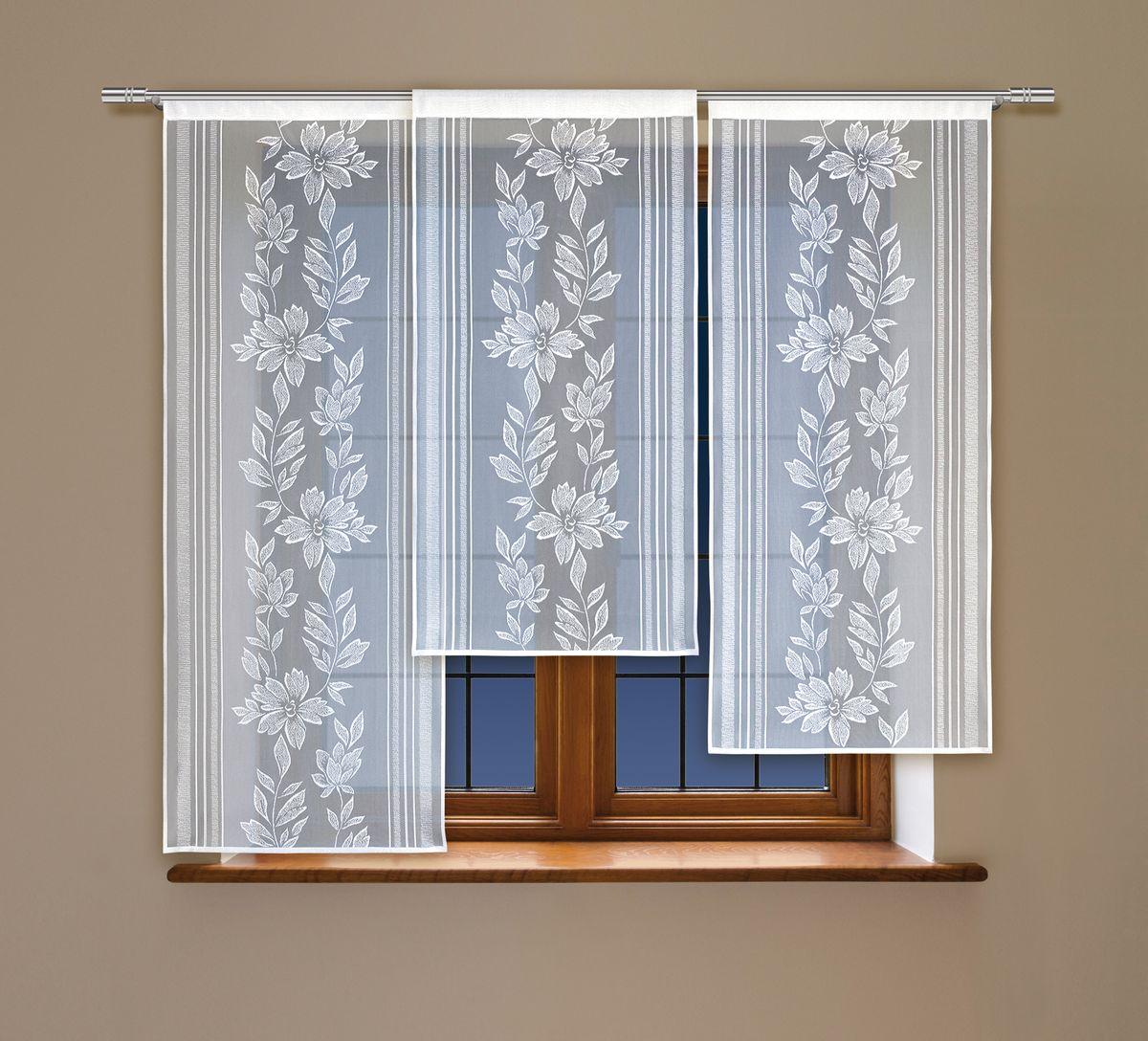 Комплект гардин Haft, на кулиске, цвет: белый, 3 шт. 212050212050Воздушные гардины Haft великолепно украсят любое окно. Комплект состоит из трех гардин, выполненных из полиэстера.Изделие имеет оригинальный дизайн и органично впишется в интерьер помещения.Комплект крепится на карниз при помощи кулиски.Размеры гардин: 160 х 60 см; 140 х 60 см; 120 х 60 см.