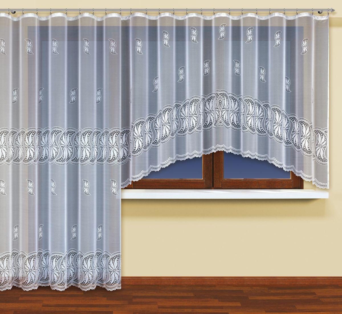 Комплект гардин для балконной двери Wisan, цвет: белый, высота 250 см. 214190214190Комплект гардин Wisan изготовлен из высококачественного полиэстера. В комплект входит короткая гардина для окна и длинная гардина для балконной двери. Тонкое плетение, оригинальный дизайн привлекут к себе внимание и органично впишутся в интерьер. Комплект гардин станет великолепным украшением балконного окна. В комплект входит: Гардина для окна: 1 шт. Размер (Ш х В): 300 см х 160 см. Гардина для балконной двери: 1 шт. Размер (Ш х В): 200 см х 250 см.