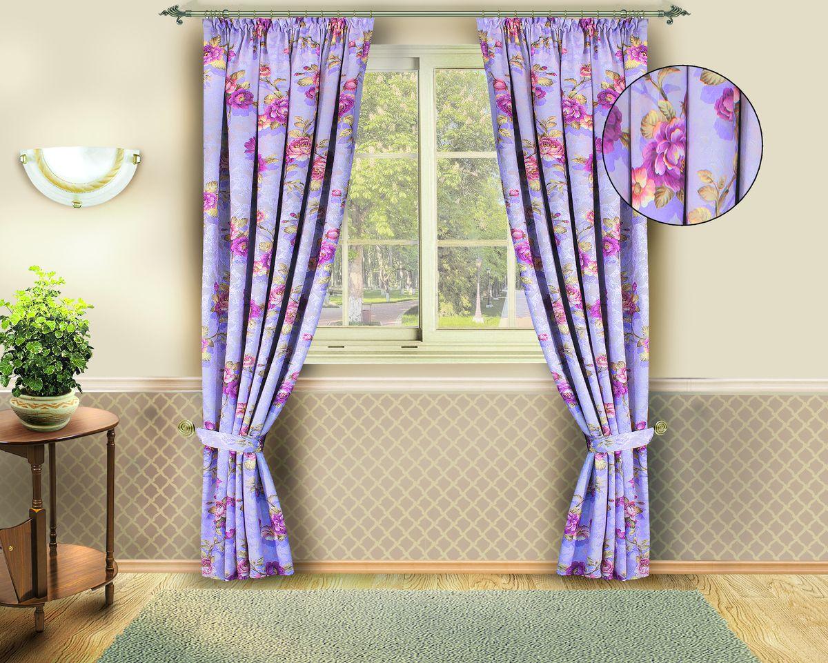 Комплект штор Zlata Korunka, на ленте, цвет: фиолетовый, высота 250 см. Б142Б142Комплект штор Zlata Korunka выполнен из качественного полиэстера фиолетового цвета, декорированного цветочным принтом. Качественный материал и оригинальный дизайн штор отлично впишется в любой интерьер. Размер штор: 140 х 250 см.
