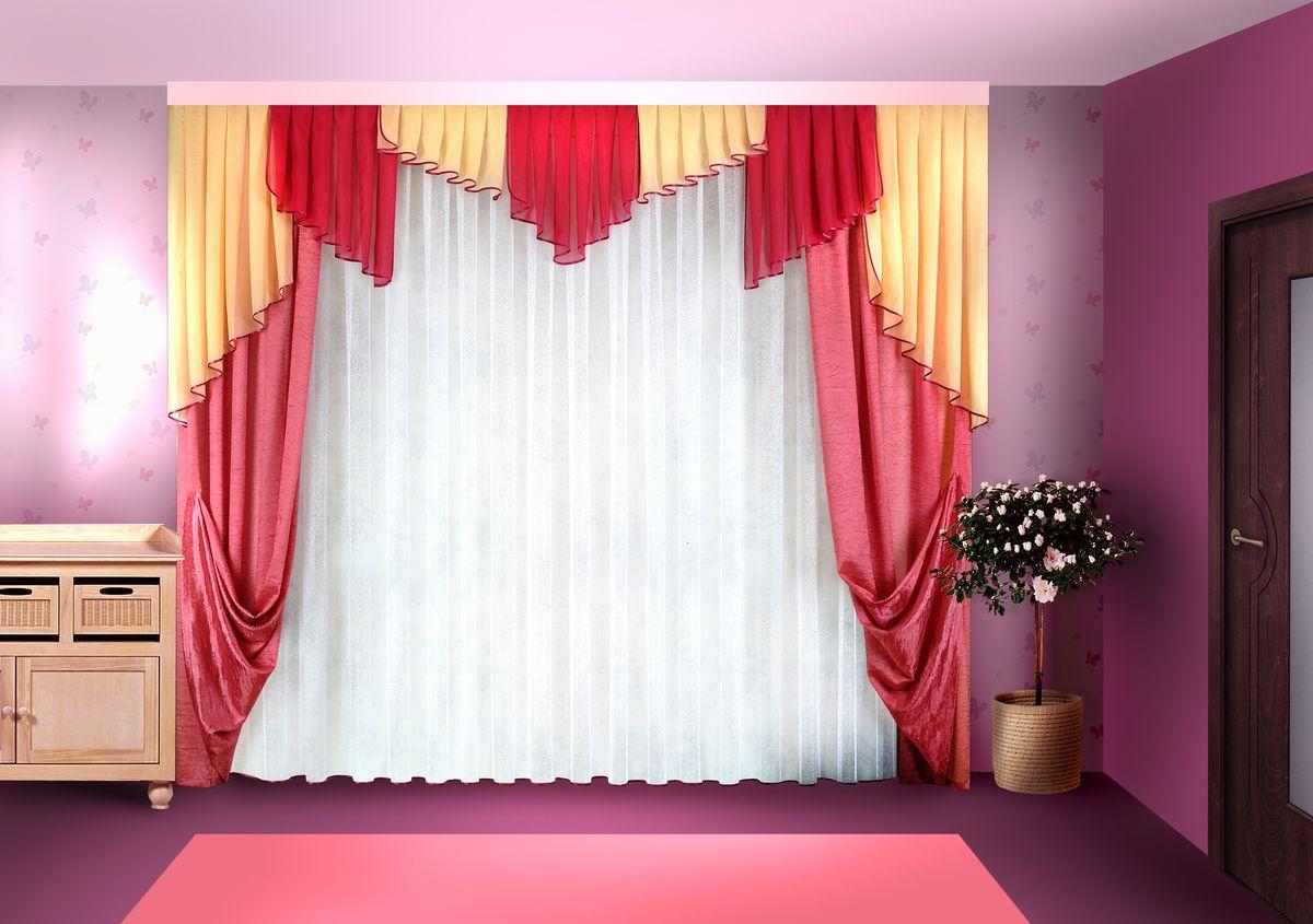 Комплект штор Zlata Korunka 500*250+(140*250)*2+.50*300. Н031 Материал: 100% п/э, размер: 500*250+(140*250)*2+.50*300, цвет: розовый